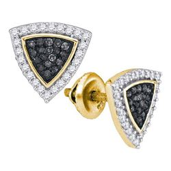 0.50CTW White and Black Diamond Micro-Pave 10KT Earrings Yellow Gold