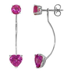 4.55 ctw Pink Topaz Earrings Jewelry 14KT White Gold