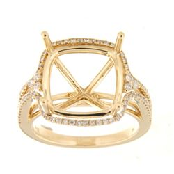 Genuine 14K Yellow Gold 0.48CTW Diamond Semi Mount Ring - REF-89N2A