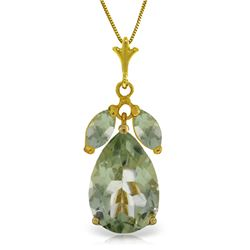 6.5 ctw Green Amethyst Necklace Jewelry 14KT Yellow Gold