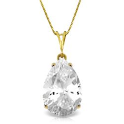 5 ctw White Topaz Necklace Jewelry 14KT Yellow Gold