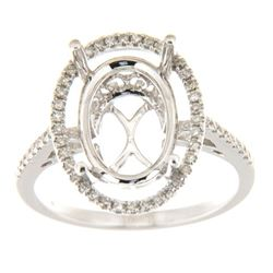 Genuine 14K White Gold 0.23CTW Diamond Semi Mount Ring - REF-48A8X