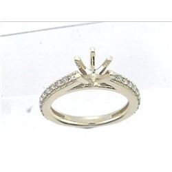 Genuine 14K Yellow Gold 0.49CTW Diamond Semi Mount Ring - REF-59W3G
