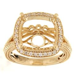 Genuine 14K Yellow Gold 0.34CTW Diamond Semi Mount Ring - REF-72N8A