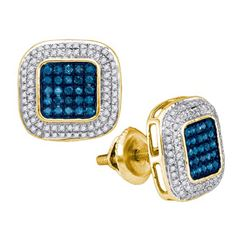 0.50CTW White and Blue Diamond Micro-Pave 10KT Earrings Yellow Gold