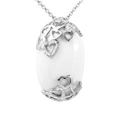 Genuine 0.17 TCW 18K White Gold Ladies Necklace - REF-108K8R