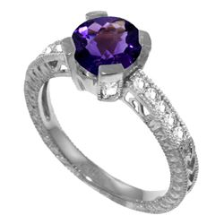 1.80 ctw Amethyst & Diamond Ring Jewelry 14KT White Gold