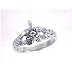 Genuine 18K White Gold 0.4CTW Diamond Semi Mount Ring - REF-85A6X