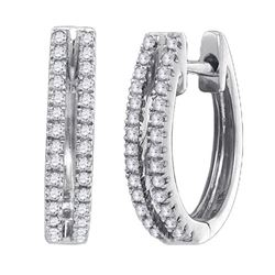 0.20CT Diamond Hoops 10KT Earrings White Gold
