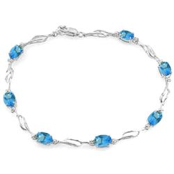 3.39 ctw Blue Topaz & Diamond Bracelet Jewelry 14KT White Gold