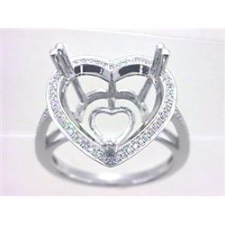 Genuine 14K White Gold 0.19CTW Diamond Semi Mount Ring - REF-57G8M
