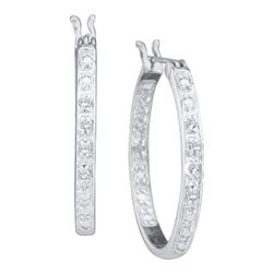 0.10CT Diamond Hoops 10KT Earrings White Gold