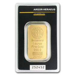 One pc. 1 oz .9999 Fine Gold Bar - Argor-Heraeus in Assay