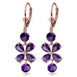 5.32 ctw Amethyst Earrings Jewelry 14KT Rose Gold