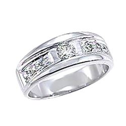 Genuine 14K White Gold 0.46CTW Diamond Band Ring - REF-72M2F