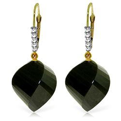 31.15 ctw Black Spinel & Diamond Earrings Jewelry 14KT Yellow Gold