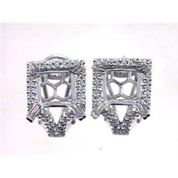 Genuine 14KWhite Gold 0.43CTW Diamond Semi-Mount Earrings - REF-72Y7Z
