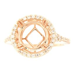 Genuine 14K Rose Gold 0.52CTW Diamond Semi Mount Ring - REF-77F3N