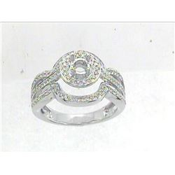 Genuine 14K White Gold 0.42CTW Diamond Semi Mount Ring - REF-69K8R