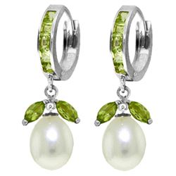 10.30 ctw Peridot & Pearl Earrings Jewelry 14KT White Gold