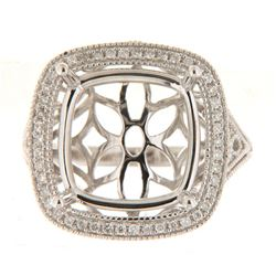 Genuine 14K White Gold 0.26CTW Diamond Semi Mount Ring - REF-69Y8Z