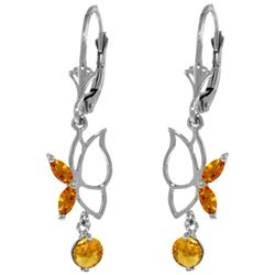 0.80 ctw Citrine Earrings Jewelry 14KT White Gold