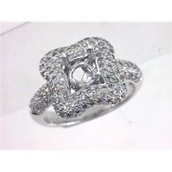 Genuine 14K White Gold 1.31CTW Diamond Semi Mount Ring - REF-115R6H