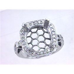 Genuine 14K White Gold 0.74CTW Diamond Semi Mount Ring - REF-111A2X