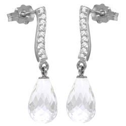 4.78 ctw White Topaz & Diamond Earrings Jewelry 14KT White Gold