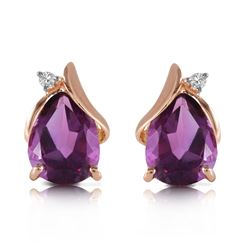 3.16 ctw Amethyst & Diamond Earrings Jewelry 14KT Rose Gold