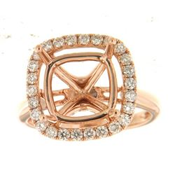 Genuine 14K Rose Gold 0.69CTW Diamond Semi Mount Ring - REF-90T6K