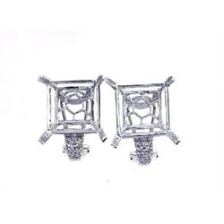 Genuine 14K White Gold 0.3CTW Diamond Semi-Mount Earrings - REF-77W4G