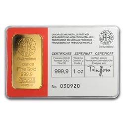 One pc. 1 oz .9999 Fine Gold Bar - Vintage Argor-Heraeus In Assay