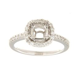 Genuine 14K White Gold 0.42CTW Diamond Semi Mount Ring - REF-58H7W