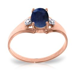 1.26 ctw Sapphire & Diamond Ring Jewelry 14KT Rose Gold