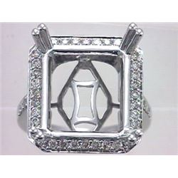 Genuine 14K White Gold 0.76CTW Diamond Semi Mount Ring - REF-93R8H