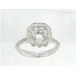 Genuine 14K White Gold 0.12CTW Diamond Semi Mount Ring - REF-39Y6Z