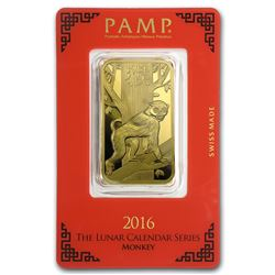One pc. 1 oz .9999 Fine Gold Bar - PAMP Suisse Year of the Monkey In Assay