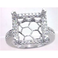 Genuine 14K White Gold 0.62CTW Diamond Semi Mount Ring - REF-82H2W