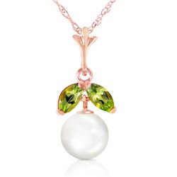 2.2 ctw Pearl & Peridot Necklace Jewelry 14KT Rose Gold