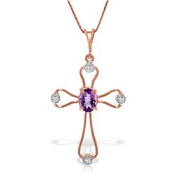 0.57 ctw Amethyst & Diamond Necklace Jewelry 14KT Rose Gold
