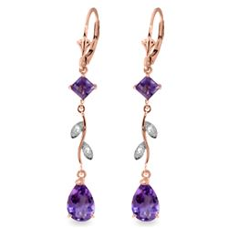 3.97 ctw Amethyst & Diamond Earrings Jewelry 14KT Rose Gold
