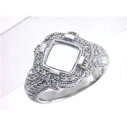 Genuine 14K White Gold 0.41CTW Diamond Semi Mount Ring - REF-83N2A