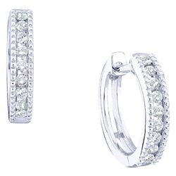 0.25CT Diamond Hoops 14KT Earrings White Gold