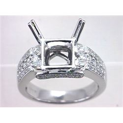 Genuine 14K White Gold 0.58CTW Diamond Semi Mount Ring - REF-110Z6T