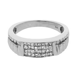 Genuine 14K White Gold 0.53CTW Diamond Gents Ring - REF-69T4K