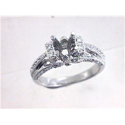 Genuine 18K White Gold 0.43CTW Diamond Semi Mount Ring - REF-101K4R