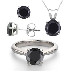 14K White Gold Jewelry SET 3.20CTW Black Diamond Ring, Earrings, Necklace
