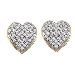 0.25CT Diamond Heart 10KT Earrings Yellow Gold