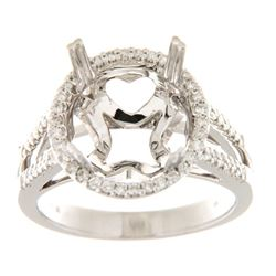 Genuine 14K White Gold 0.32CTW Diamond Semi Mount Ring - REF-82W7G